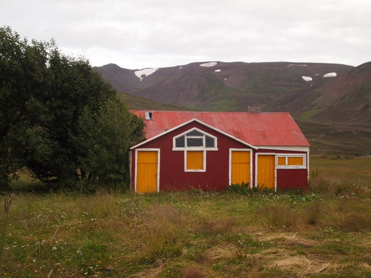 red and orange house in Dalvík