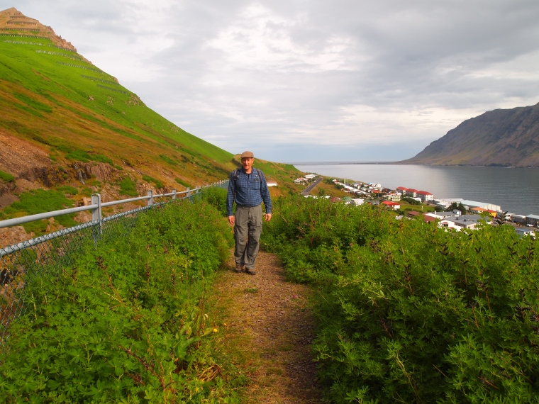 Mike walking the path above Siglufjörður