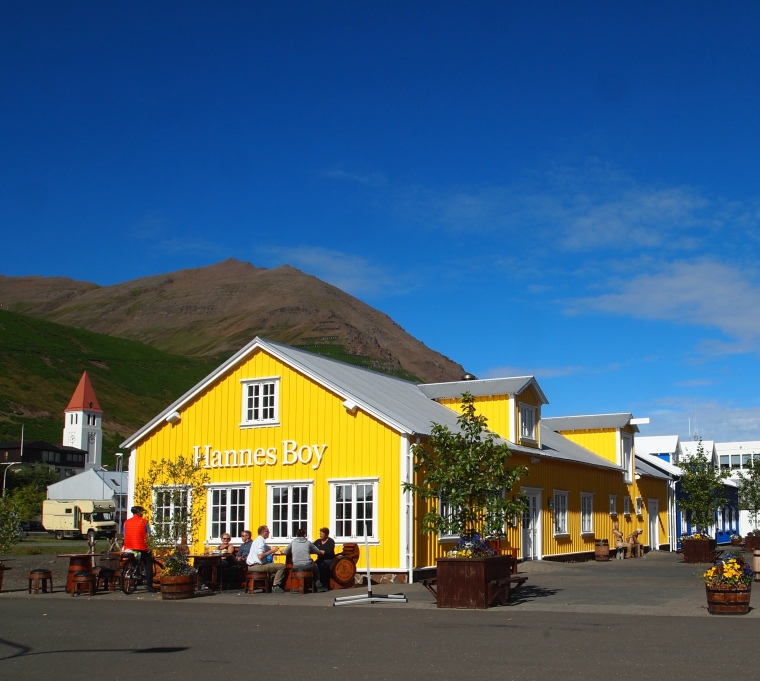 brightly colored cafes near the marina