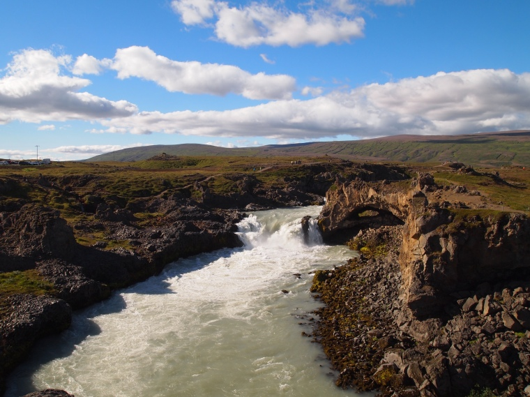 crossing the bridge downstream from Goðafoss