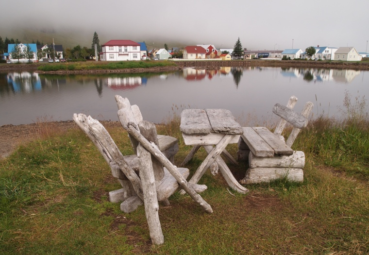 view of the town from the picnic table at Hotel Snæfell