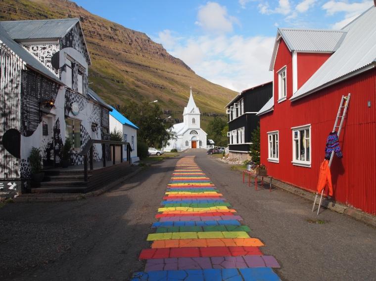 rainbow road and the Blue Church in Seyðisfjörður