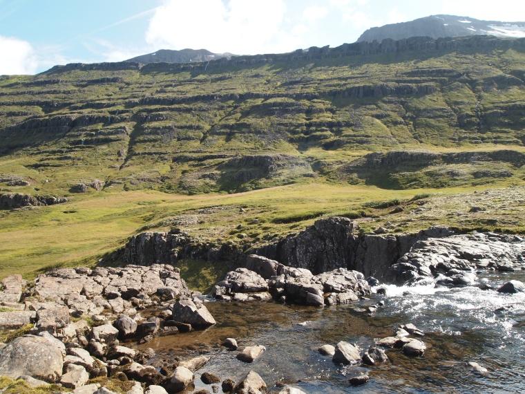 along the river Fjarðará