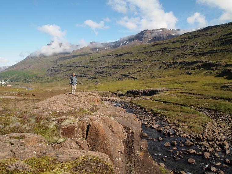 Mike along the Fjarðará