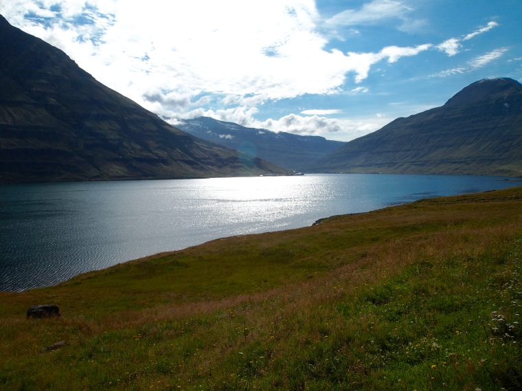 Driving along the road north of Seyðisfjörður