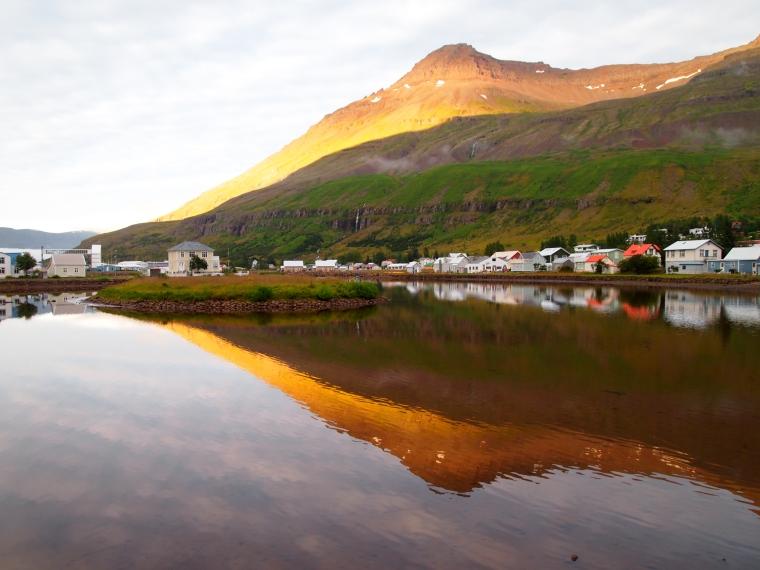 Glowing mountains in Seyðisfjörður,