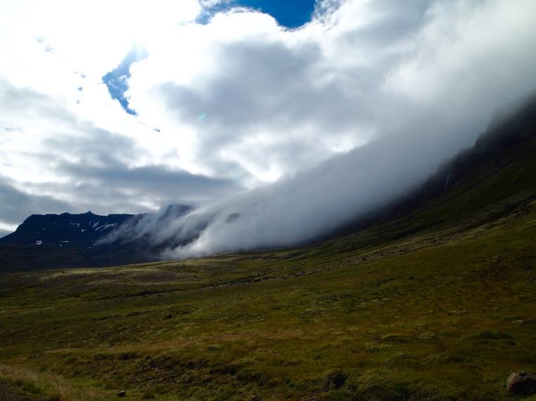fog-covered mountains in Breiðdalur
