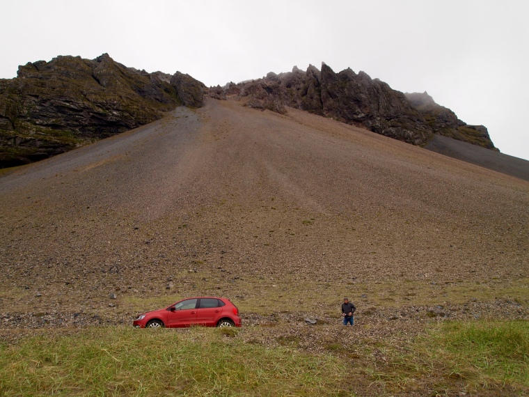 our car and Mike near Eystrahorn