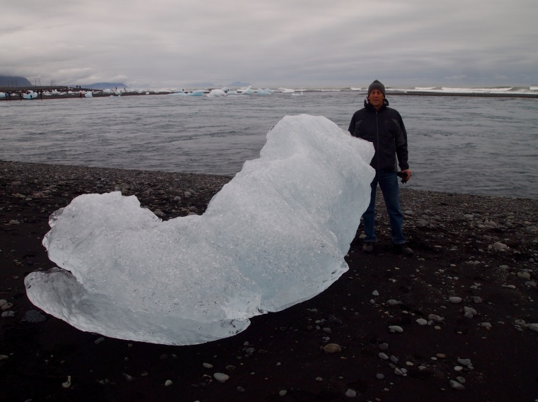 Mike with the icebergs