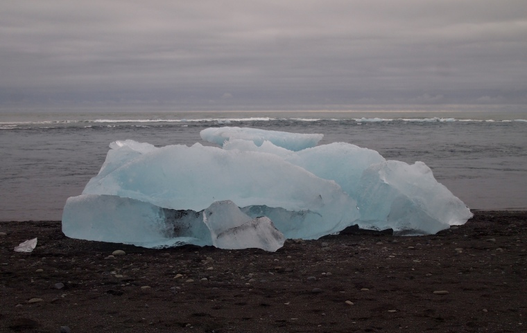 icebergs on the black sand beach at Jökulsárlón
