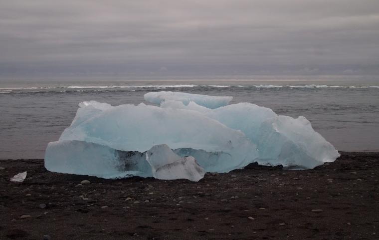 icebergs on the black sand beach at Jökulsárlón