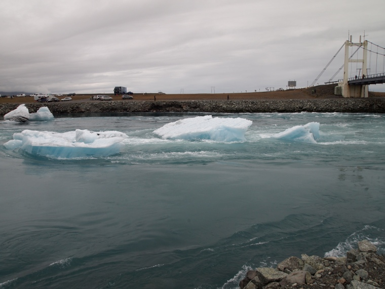 icebergs float down the river Jökulsá to the North Atlantic Ocean