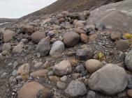 the rocky terrain of Fláajökull
