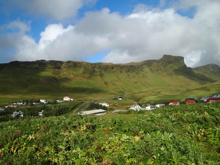 view of Reynisfjall ridge from Vikurkirkja