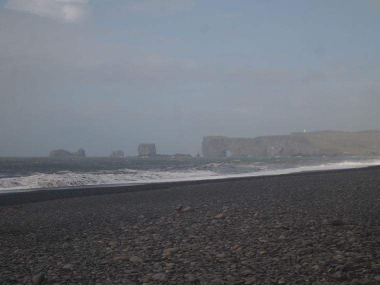 view of Dyrhólaey from Reynisfjara