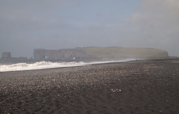 view of Dyrhólaey from Reynisfjara