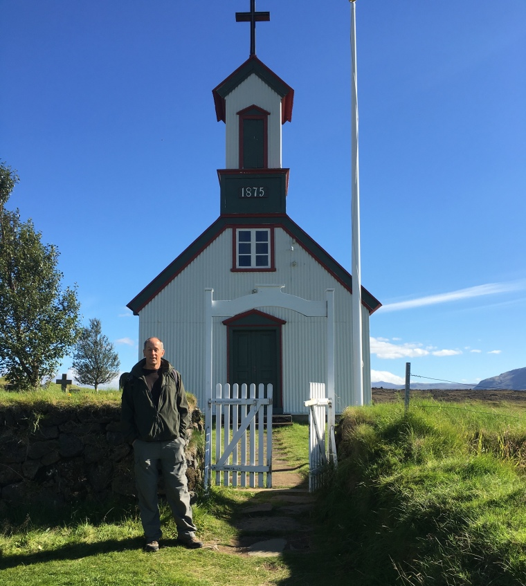 Mike at the Keldur church