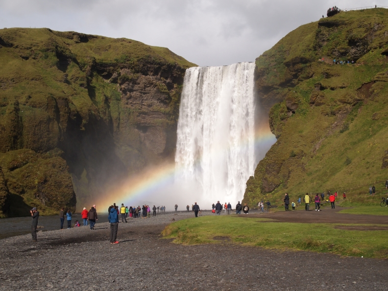 Skógafoss with rainbow