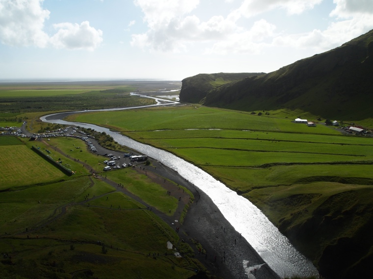 the view from Skógafoss