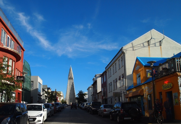 view up the street to Hallgrímskirkja