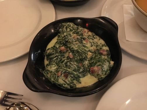 Spinach with cream & Serrano ham