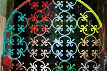 colorful iron grates