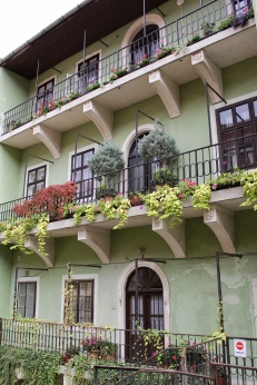 pretty green building with flower boxes