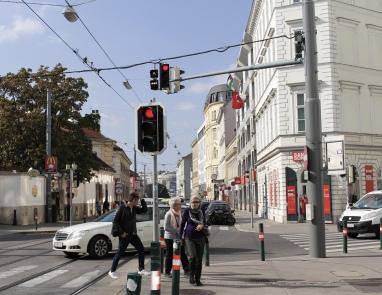street scene near the tram stop