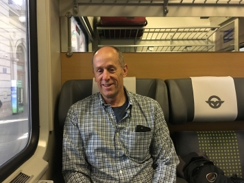 Mike on the train to Sopron