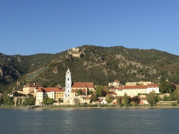 view of Dürnstein from across the Danube