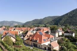 view of Weißenkirchen in der Wachau from the winery