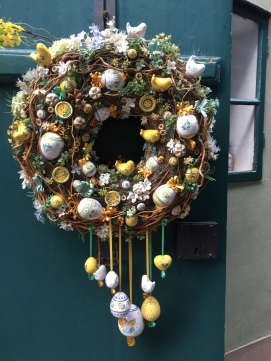 wreath on cottage door