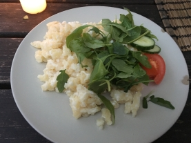 traditional central European dish with bryndza (sheep) cheese & garnish